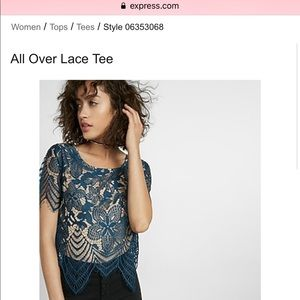 Express all over lace tee in maroon